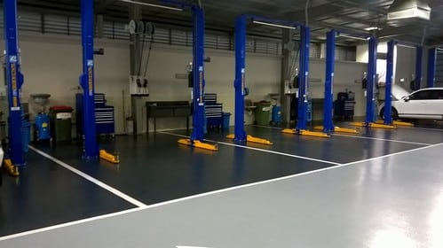 Floortec VW service workshop floor